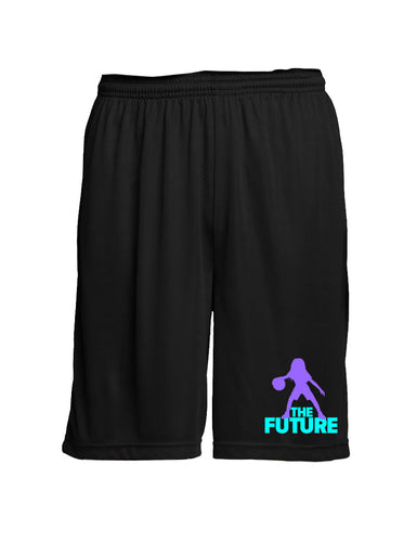 Youth Performance Shorts - Black/Purple/Aqua