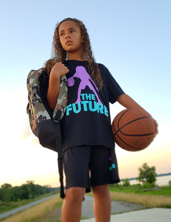 Youth Performance Tee - Black/Purple/Aqua - Unconfined. Apparel