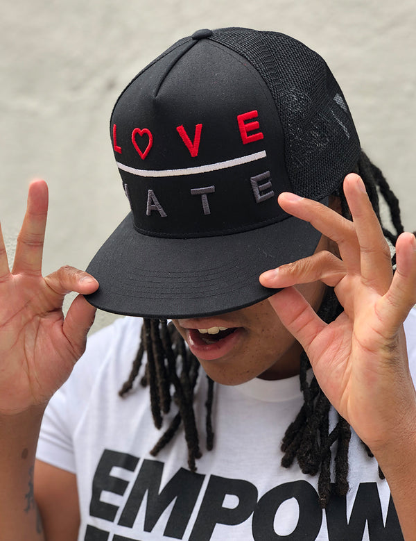 Love Over Hate - Snapback Trucker Hat - Unconfined. Apparel