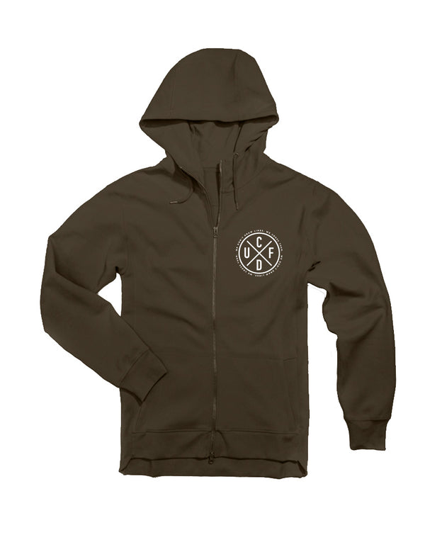 Full Zip Performance Fleece Hoodie - Olive (unisex) - Unconfined. Apparel