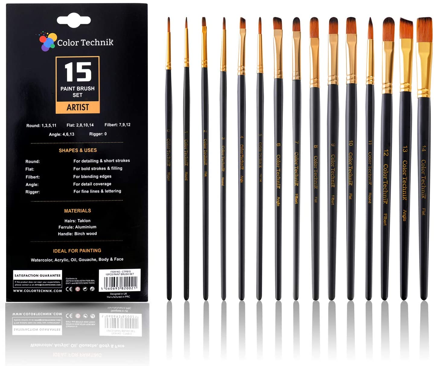 Paint Brush Set of 15 by Color Technik