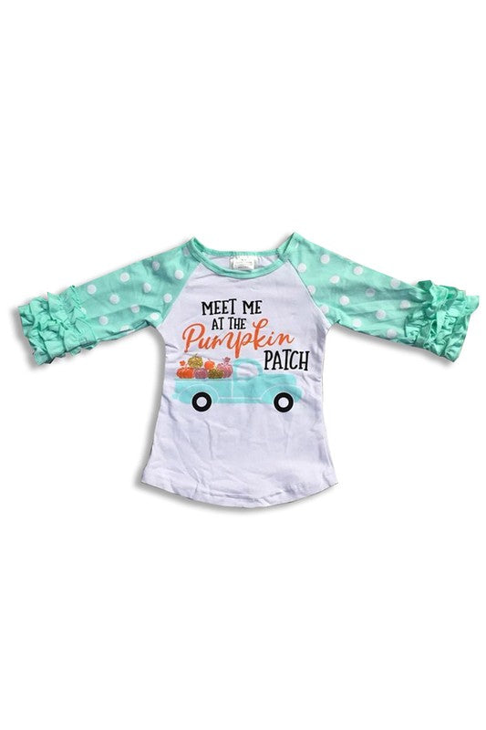 Children's Shirt - Mint Ruffle Top - Meet Me at the Pumpkin Patch!