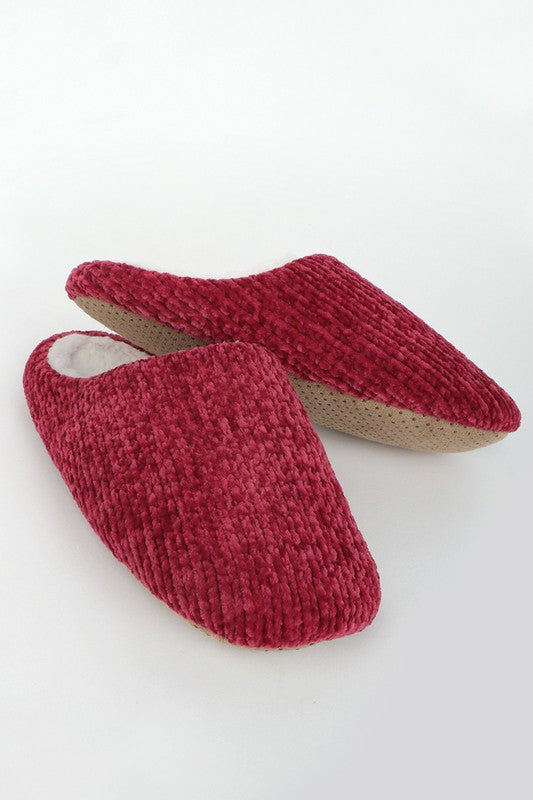 Chenille Slippers ~ Burgundy