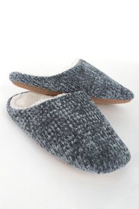 Chenille Slippers ~ Grey