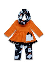 Girls Halloween Set with Scarf Orange and Black
