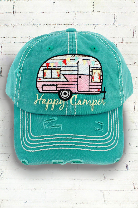 Cap - Happy Camper - Teal