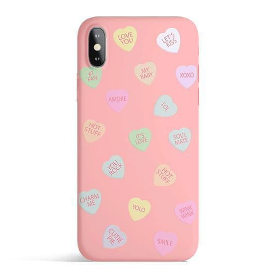 Pink phone cover with candy hearts for Valentine's Day