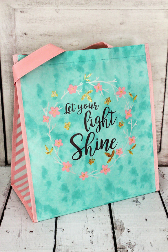 Tote Bag ~ Let Your Light Shine ~ Mint Green and Pink