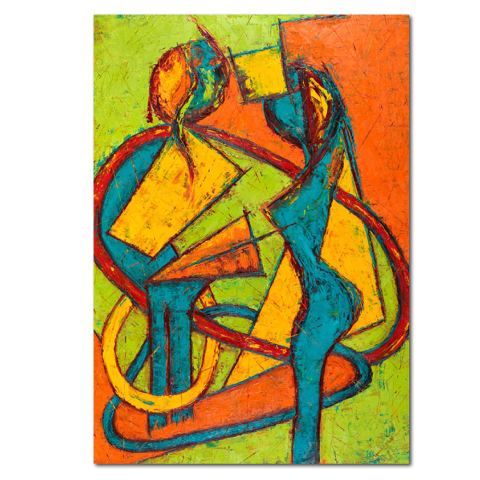 Geometry Of A Relationship Abstract Oil Painting Dallas