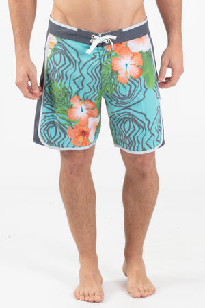 "Hibiscus Grain 17"" Scalloped Hem Boardshort - Wavelife"