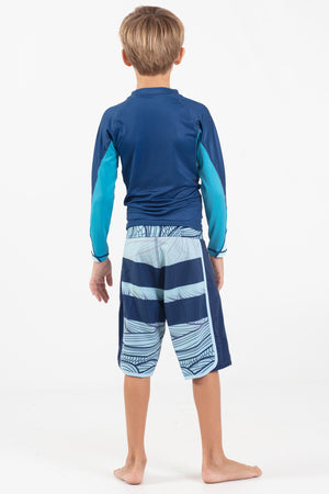 "Boys Fade Wave 17"" Scalloped Hem Volley Short"