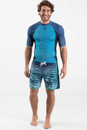 Short Sleeve Rashguard Blue - Wavelife