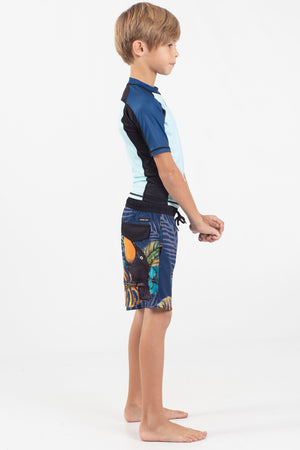 Boys Short Sleeve Performance Rashguard - Wavelife