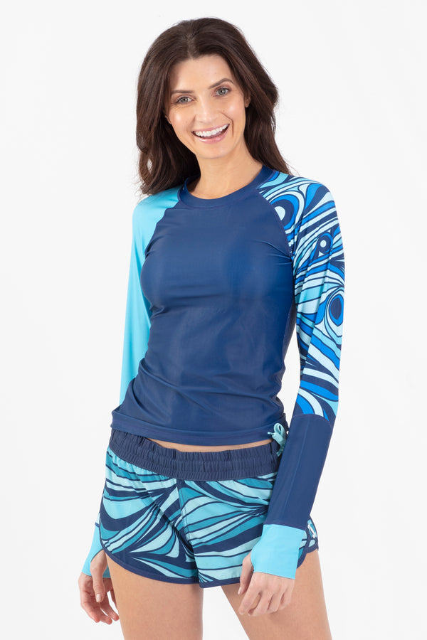 Aqua Spray Stirrup Sleeve Rashguard - Wavelife