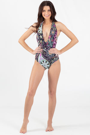Paisley Park Reversible V-Neck One Piece - Wavelife