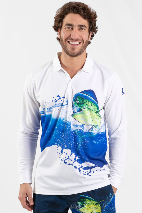 Mahi Mahi Performance Long sleeve fishing polo - Wavelife