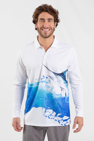 Blue Marlin Performance Long sleeve fishing polo - Wavelife