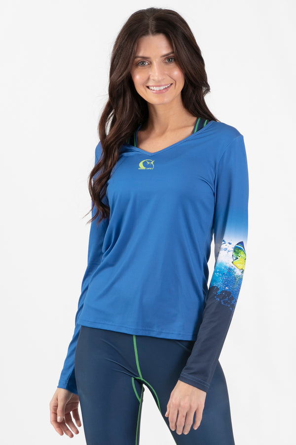 Mahi Mahi Active Long Sleeve V-Neck - Wavelife