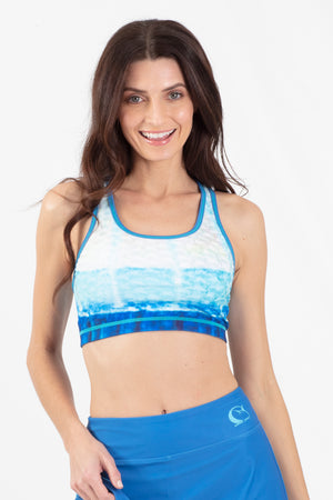 Blue Marlin Reversible Active Crop Top - Wavelife