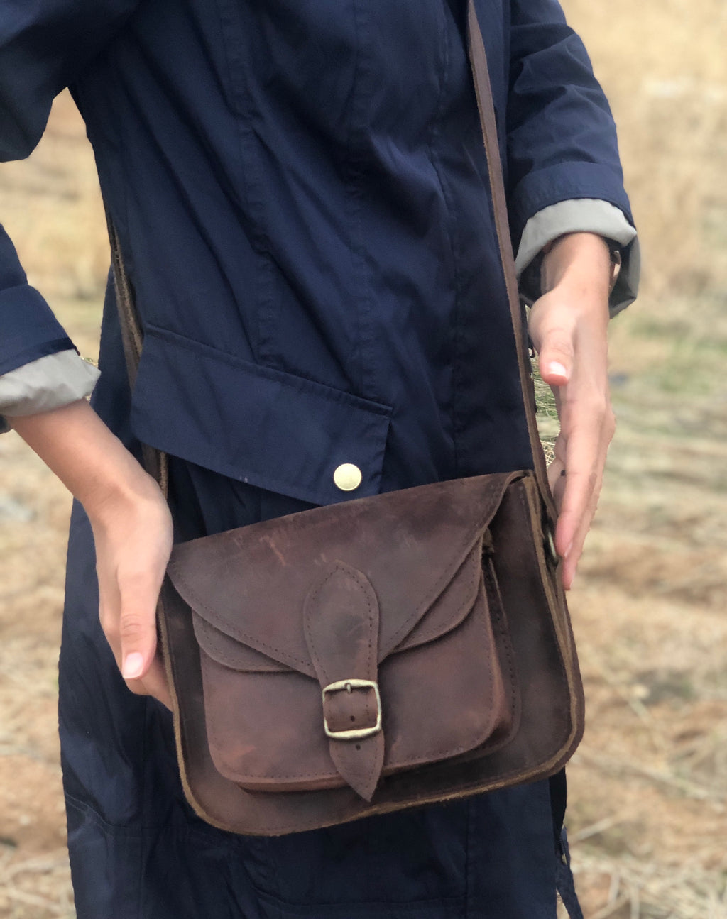 Small Camel Leather Messenger Bag