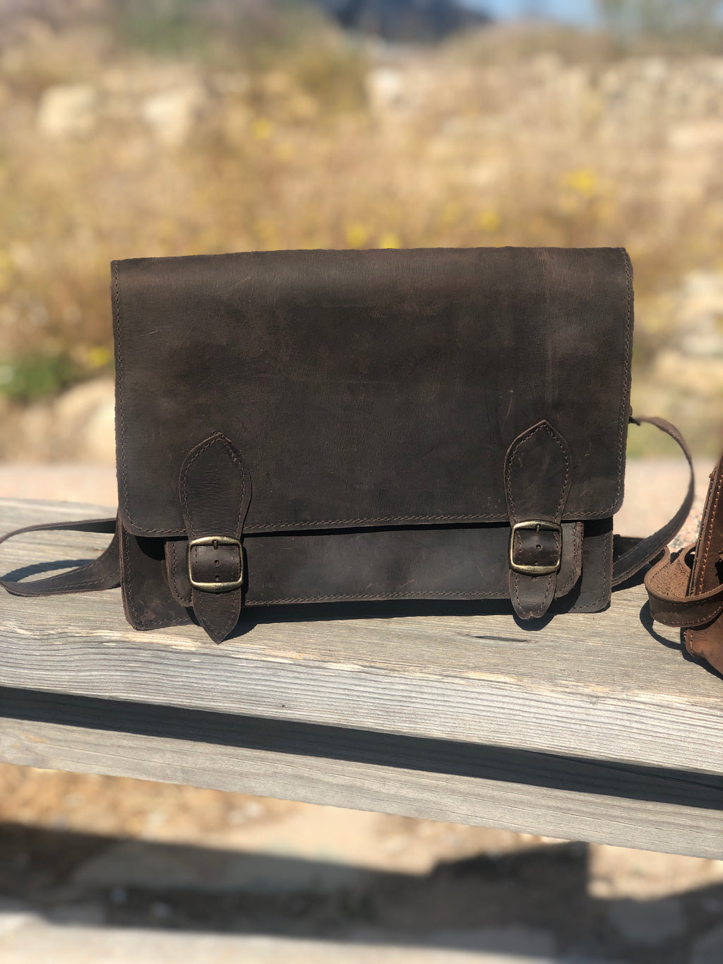 Camel Leather Large Messenger Bag