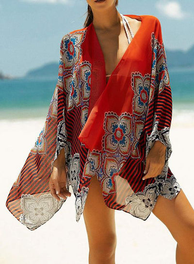 Sexy Flower Print Beach Cover Up - reginasdesire