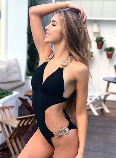 ʻO Emma One-Piece Swimsuit - ʻeleʻele - reginasdesire