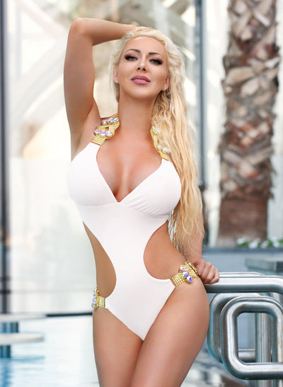 Emma One-Piece Swimsuit - White - reginasdesire