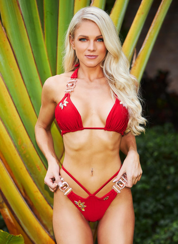 Hollywood Halter Top & Strappy Skimpy Bottom - Red