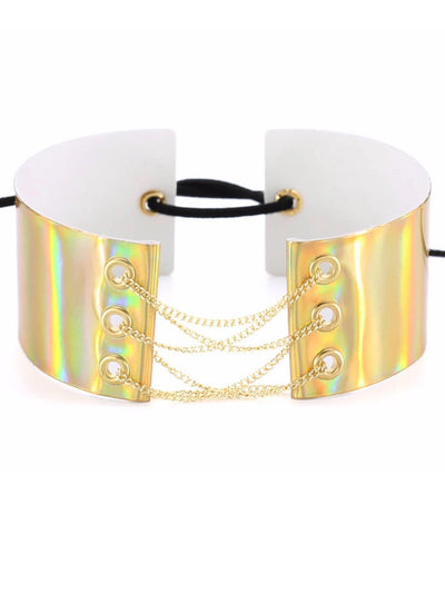 Metal Shine Choker With Chain Corset - reginasdesire
