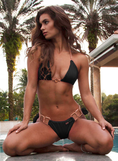 Tessa Triangle Top & Tie Side Bottom - Black - Regina's Desire Swimwear