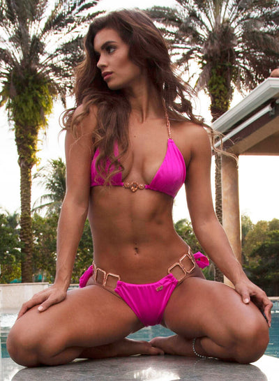 Tessa Triangle Top & Tie Side Bottom - Pink - Regina's Desire Swimwear