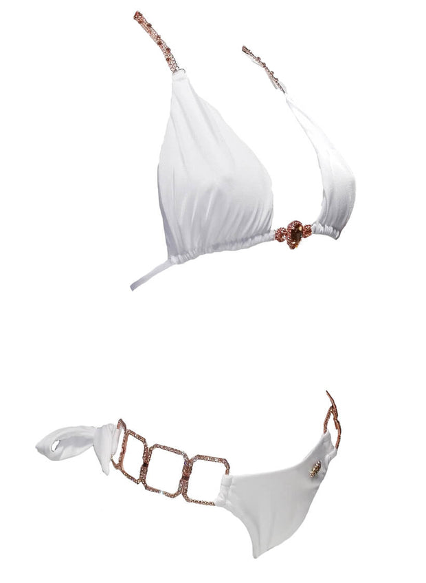 Tessa Triangle Top & Tie Side Bottom - White - reginasdesire