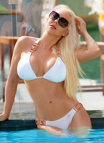 Tina Halter Top & Skimpy Bottom - White - Regina's Desire Swimwear