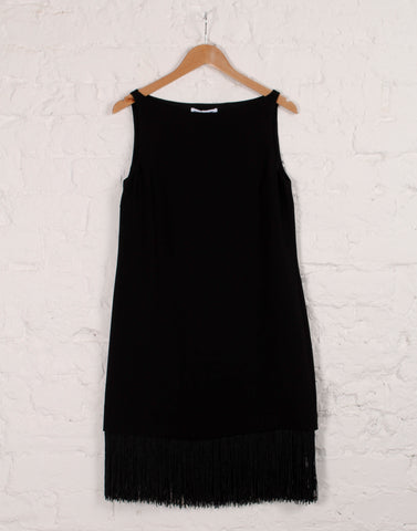 Ekon Boat-Neck Dress with Fringe