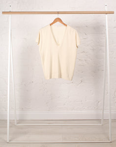 Joyce Jersey V-Neck Top Ecru