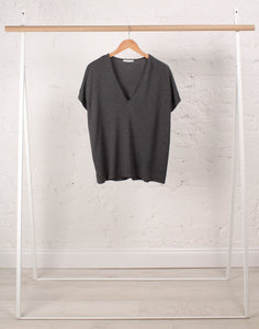 Joyce-Lou V Neck Organic Cotton in Grey Marl