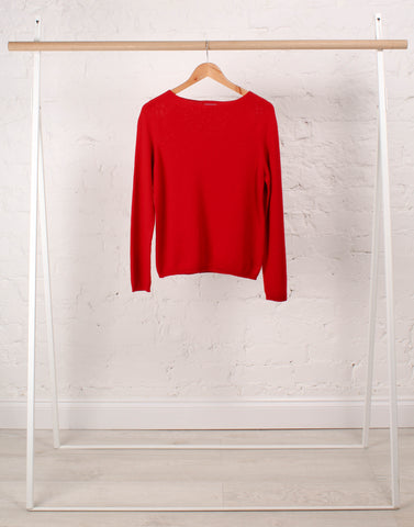 Cashmere Boat Neck Essential in Classic Red