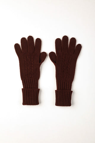 Cashmere Long Ribbed Cable Knit Gloves