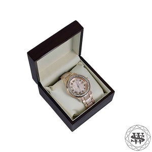 Premium Rose Gold Steel Simulated Diamond Watch 45mm