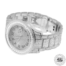 Premium White Gold Steel Simulated Diamond Watch 45mm