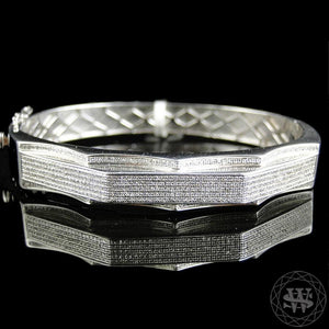 "Jewelry World Shine Bracelet 11 mm / 9"" / 22.86 cm Premium 925 Sterling Silver With Real Diamond 14k White Gold Finish Diamond Bracelet 2.75Ct 11mm"