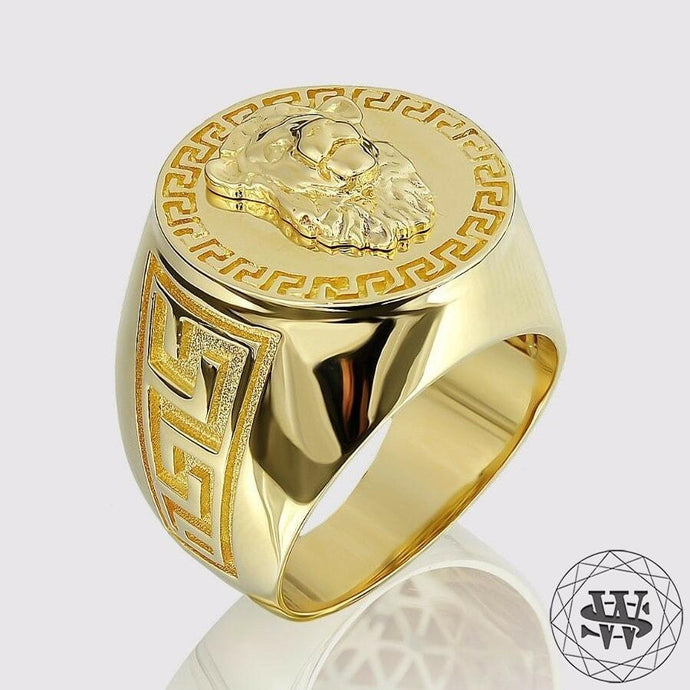 Jewelry World Shine Ring 5 Prestige Versace Lion 14K Solid Yellow Gold Luxury Ring