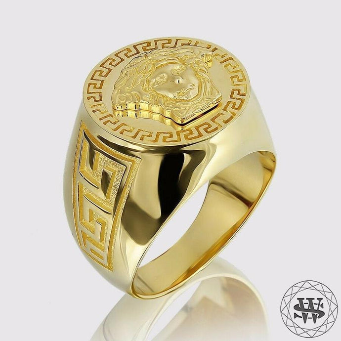Jewelry World Shine Ring 8.5 Prestige Versace Medusa 14K Solid Yellow Gold Luxury Ring