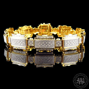 "World Shine 14 mm / 8.5"" / 21.59 cm Premium 925 Sterling Silver With Real Diamond 10k Yellow Gold Finish Diamond Bracelet 1.25Ct 14mm"