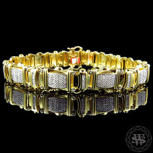 "World Shine Bracelet 12.5 mm / 8"" / 20.32 cm Premium 925 Sterling Silver With Real Diamond 14k Yellow Gold Finish Diamond Bracelet 1.2Ct 12.5mm"