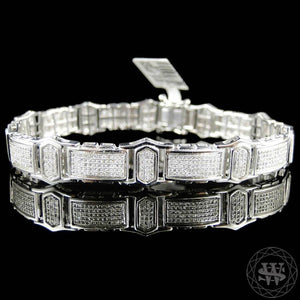 "World Shine Bracelet 12 mm / 9"" / 22.86 cm Premium 925 Sterling Silver With Real Diamond 14k White Gold Finish Diamond Bracelet 3.25Ct 12mm"