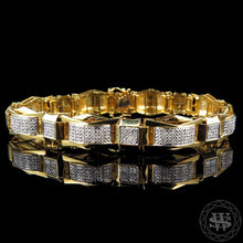 "World Shine Bracelet 13 mm / 8.5"" / 21.59 cm Premium 925 Sterling Silver With Real Diamond 14k Yellow Gold Finish Diamond Bracelet 1.20Ct 13mm"