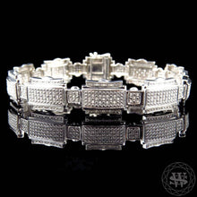 "World Shine Bracelet 14 mm / 8.5"" / 21.59 cm Premium 925 Sterling Silver With Real Diamond 10k White Gold Finish Diamond Bracelet 1.25Ct 14mm"