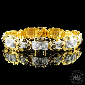 "World Shine Bracelet 14 mm / 8.5"" / 21.59 cm Premium 925 Sterling Silver With Real Diamond 10K Yellow Gold Finish Diamond Bracelet 1.25Ct 14mm"